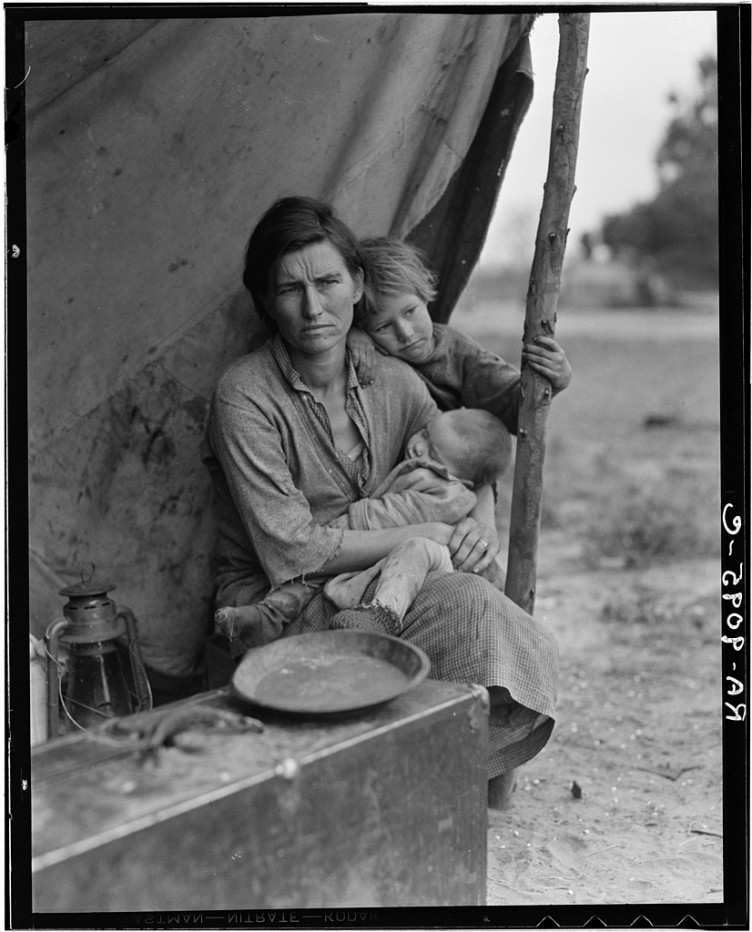 Dorothea Lange - Migrant agricultural worker's family. Seven children without food. Mother aged thirty-two. Father is a native Californian. Nipomo, California